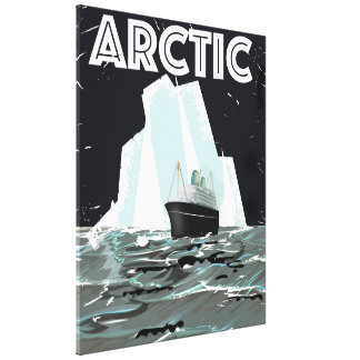 Arctic Vintage travel poster Gallery Wrap Canvas