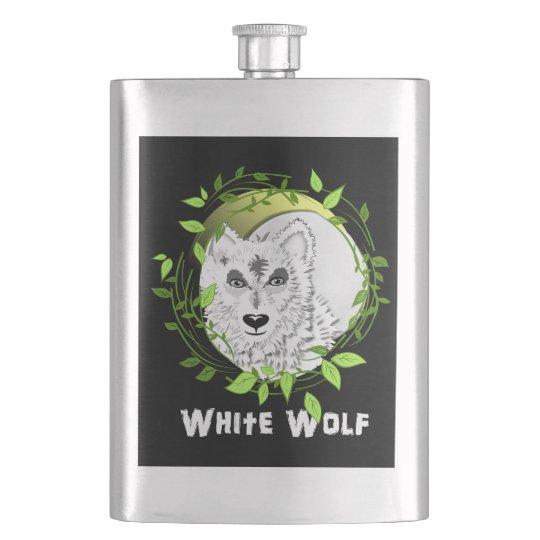 Arctic White Wolves Wild Animal Design Flasks