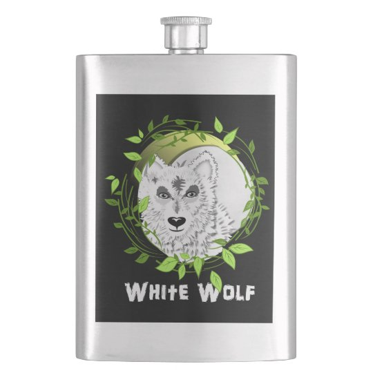 Arctic White Wolves Wild Animal Design Hip Flask