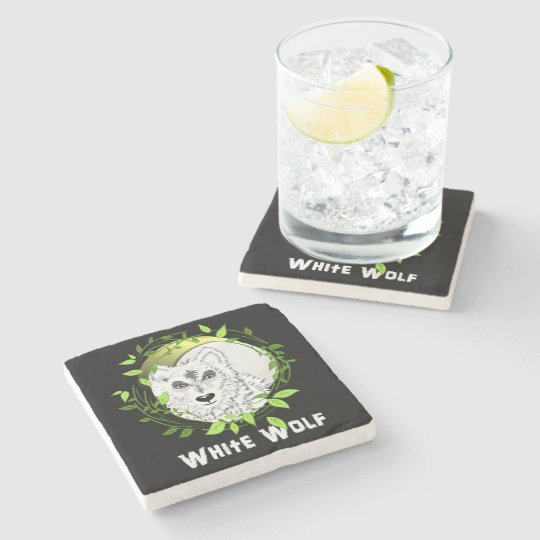 Arctic White Wolves Wild Animal Design Stone Beverage Coaster