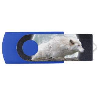 Arctic Wolf and Full Moon Wildlife Design USB Flash Drive