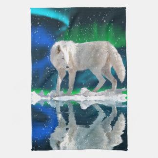 Arctic Wolf, Aurora & Falling Snow Wildlife Art Kitchen Towel