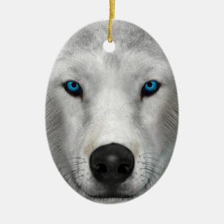 Arctic Wolf Ceramic Oval Ornament