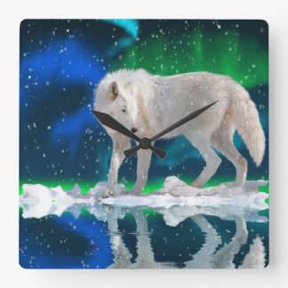 Arctic Wolf, Snow & Aurora Wildlife Art Clock