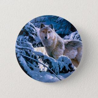 Arctic wolf - white wolf - wolf art 2 inch round button