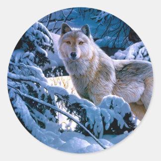Arctic wolf - white wolf - wolf art classic round sticker