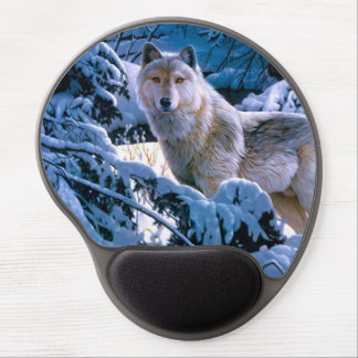 Arctic wolf - white wolf - wolf art gel mouse pad
