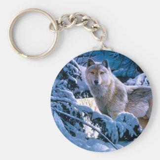 Arctic wolf - white wolf - wolf art keychain