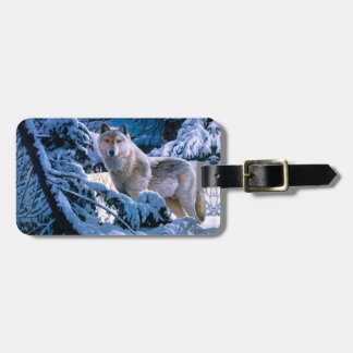 Arctic wolf - white wolf - wolf art luggage tag