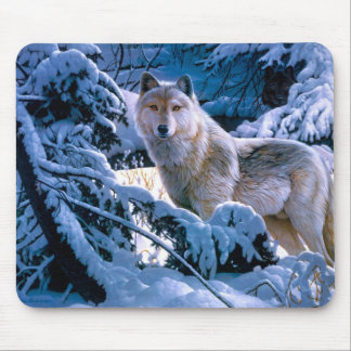 Arctic wolf - white wolf - wolf art mouse pad