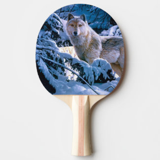 Arctic wolf - white wolf - wolf art ping pong paddle