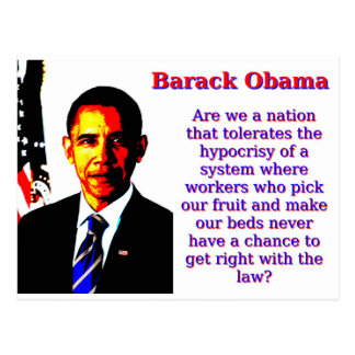 Are We A Nation That Tolerates - Barack Obama Postcard