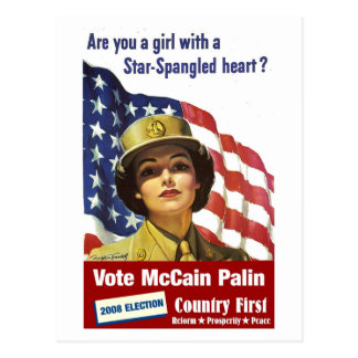 Are you a girl with a Star-Spangled Heart - Postca Postcard