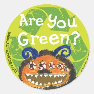 Are You Green? Round Sticker
