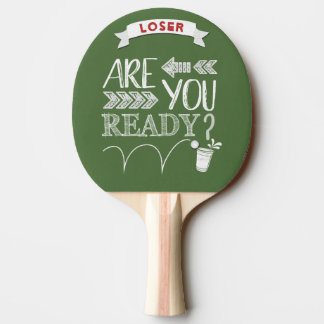 Are You Ready? Beer Pong Football Chalkboard Ping Pong Paddle