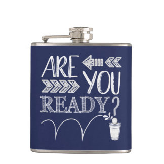 Are You Ready Beer Pong Football-Styled Chalk BLUE Hip Flask