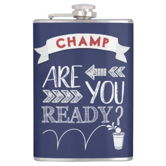 Are You Ready Beer Pong Football-Styled CHAMP BLUE Hip Flask