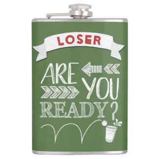 Are You Ready? Beer Pong Football-Styled LOSER Hip Flask