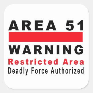 Area 51 Warning Square Sticker