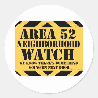 Area 52 Neighborhood Watch Classic Round Sticker