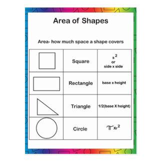 Area of Shapes Rainbow Postcard