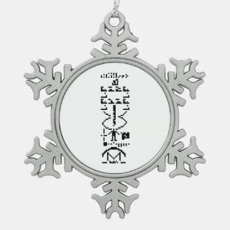 Arecibo Binary Message 1974 Snowflake Pewter Christmas Ornament