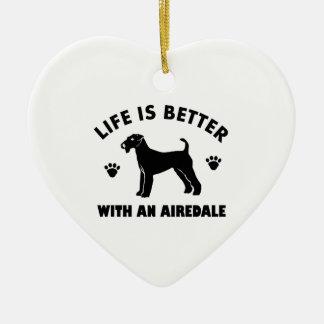 aredale terrier dog design ceramic heart ornament