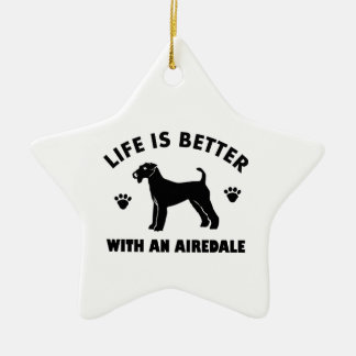 aredale terrier dog design ceramic star ornament