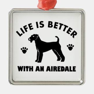 aredale terrier dog design Silver-Colored square ornament