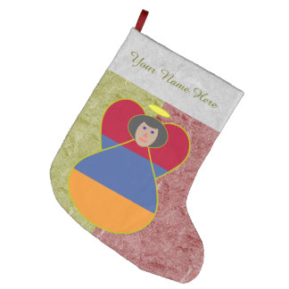 Aremenian Angel Flag Black Hair Large Christmas Stocking