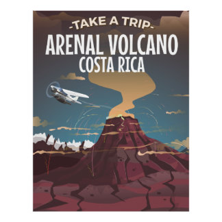Arenal Volcano Costa Rica vintage cartoon poster