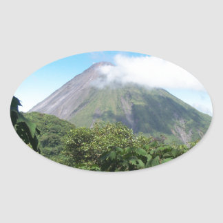 arenal volcano oval sticker