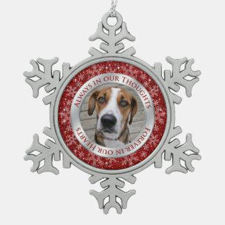 Argent commémoratif de rouge de Noël de photo de Ornement Flocon De Neige Pewter