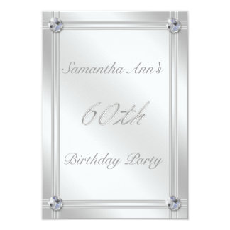 Argent et fête d'anniversaire d'effet de diamant carton d'invitation 8,89 cm x 12,70 cm