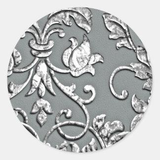 Argent métallique de relief de damassé de regard adhésif rond