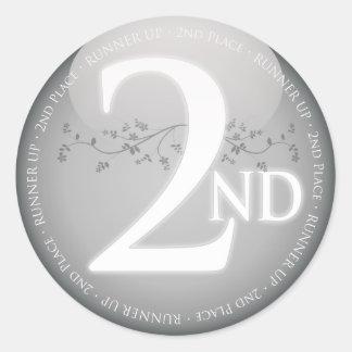 Argentez la deuxième 2ème récompense d endroit autocollant rond