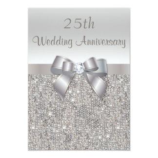 Argentez les 25èmes paillettes d'anniversaire de carton d'invitation  12,7 cm x 17,78 cm