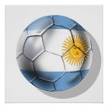 Argentina Argentine Soccer Ball Shirts Poster