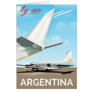 """Argentina """"By Air"""" vintage flight poster Card"""