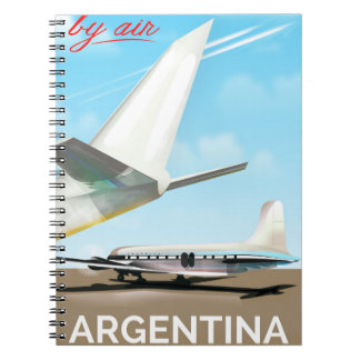 "Argentina ""By Air"" vintage flight poster Notebook"