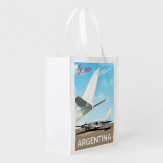 """Argentina """"By Air"""" vintage flight poster Reusable Grocery Bag"""