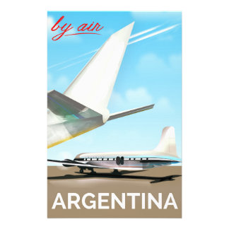 """Argentina """"By Air"""" vintage flight poster Stationery"""