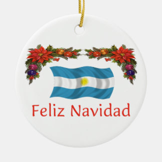 Argentina Christmas Round Ceramic Ornament