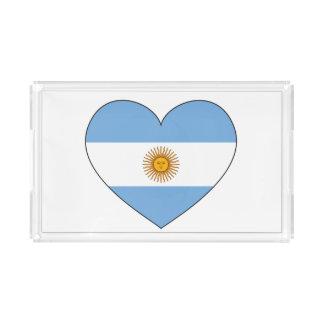 Argentina Flag Heart Acrylic Tray