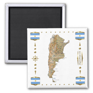 Argentina Map + Flags Magnet