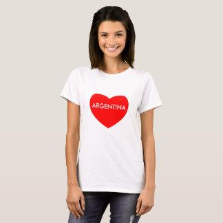 Argentina on red heart print Women's Basic T-Shirt