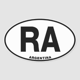 Argentina RA Oval Euro Style Identity Letters Oval Sticker