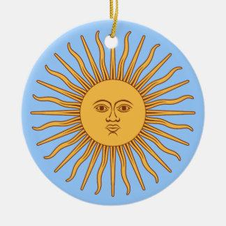Argentina Sol de Mayo Round Ceramic Ornament