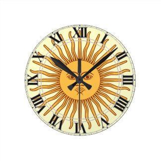 Argentina Uruguay Symbol Sun Face with Rays Wall Clock