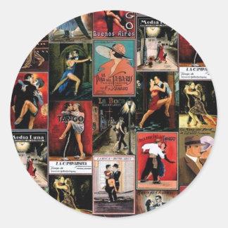 Argentine tango classic round sticker